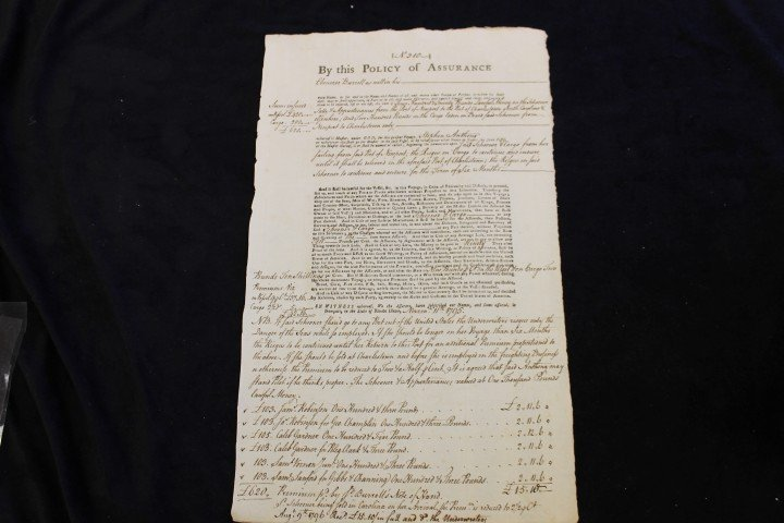 Nov. 11, 1795 Policy of Assurance of 420 pounds for the