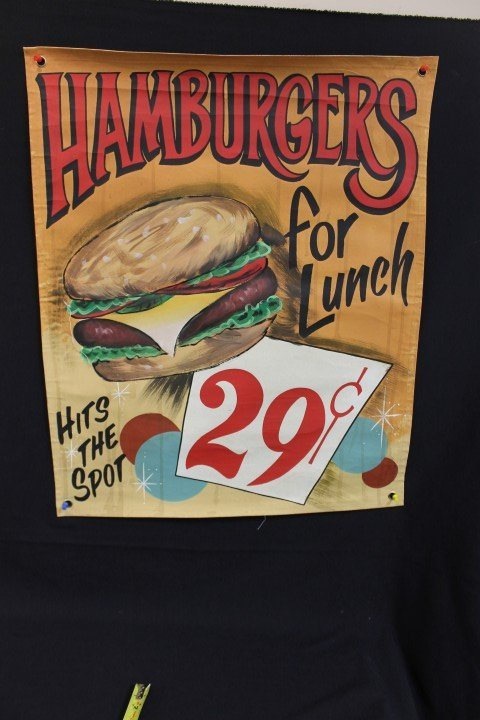 Hamburgers For Lunch Hits The Spot 29 cents cloth sign,
