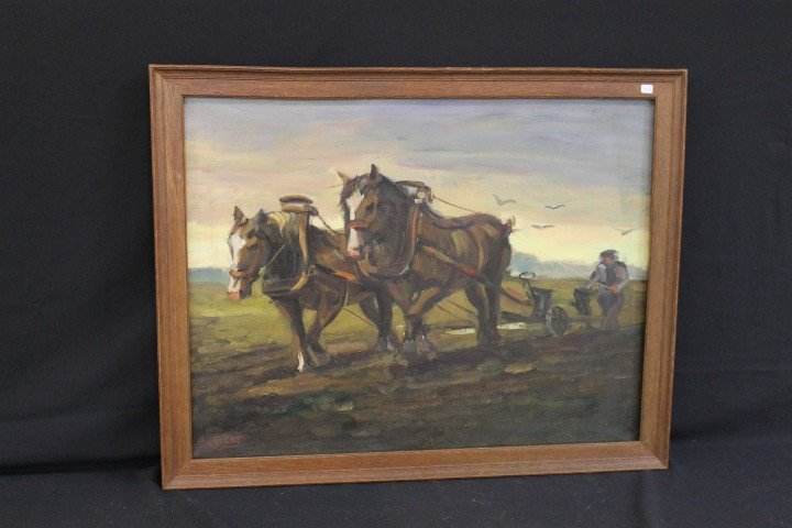 Aarnout Van Gilst oil-on-canvas painting of a team of h