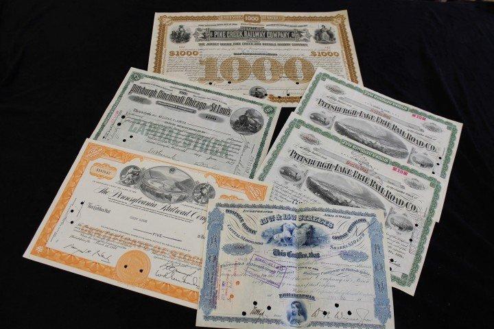 Stock Certificates:  1885 The Pine Creek Railway Co. No
