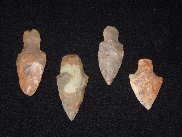 """Four colorful Adena points; largest is 2 1/2"""""""