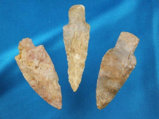 Three (3) nice Boyles flint Adena points, KY, largest i