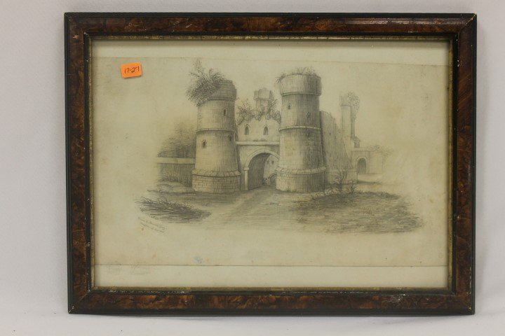 """Pencil drawing of a castle marked at lower left """"Drawn"""