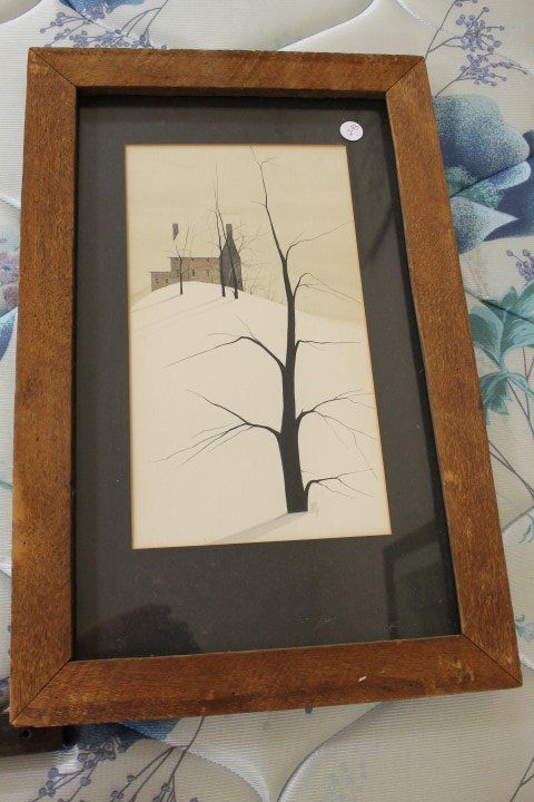 P. Buckley Moss signed winter landscape of a brick home