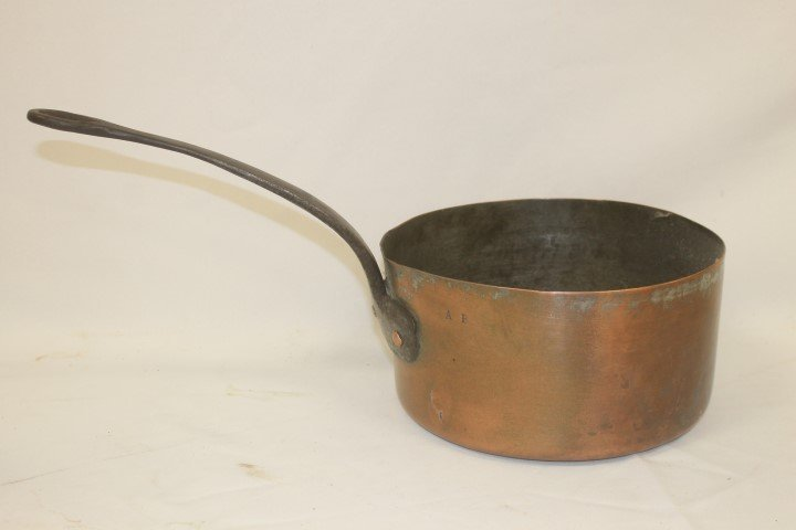 Copper pot with iron handle, marked AB