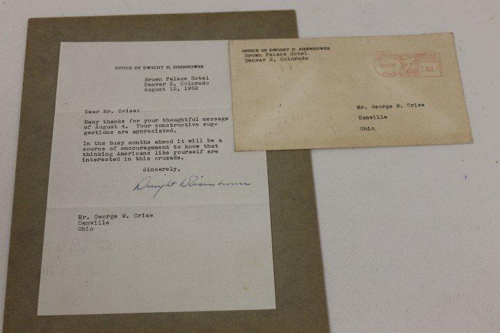 Dwight D. Eisenhower signed letter.  August 12, 1952 le
