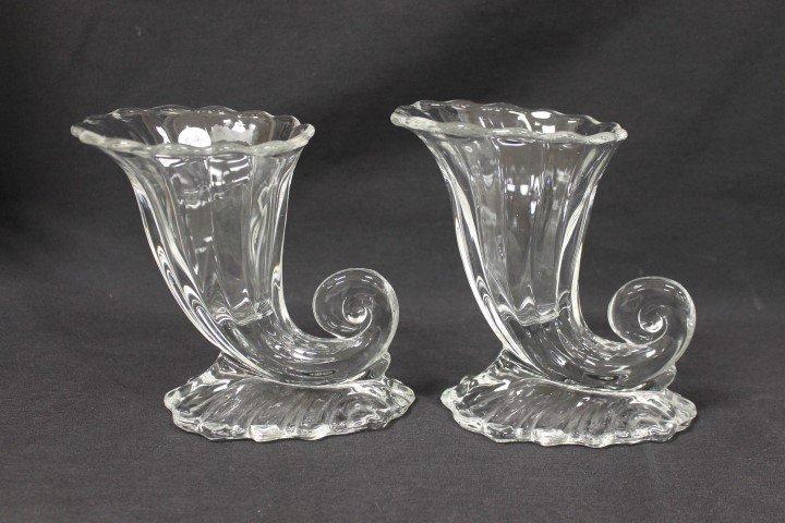 """Heisey Warwick cornucopia vases, 6 3/4"""""""