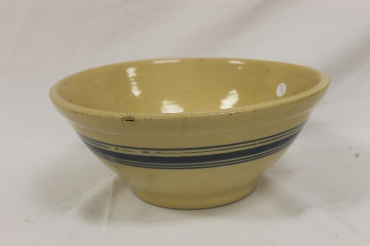 """Yellowware deep bowl with blue rings.  13 1/4"""" wide, 5"""