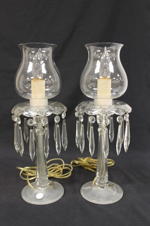 Pair Heisey candle lamps with bobeche and prisms on fro
