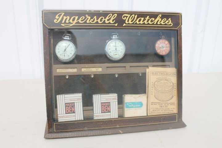 Ingersoll Watches display case with contents.  Ingraham