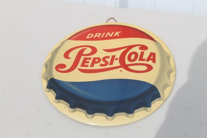 "9"" Drink Pepsi-Cola cap sign."