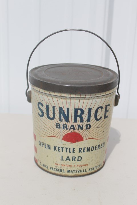 Sunrice Brand Open Kettle Rendered Lard 4-pound tin.
