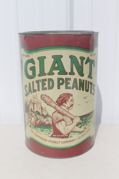 Giant Salted Peanuts 10-pound tin.  The Superior Peanut