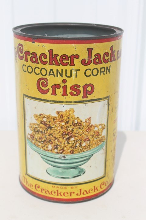 Cracker Jack Cocoanut Corn Crisp 1-pound tin, no lid.