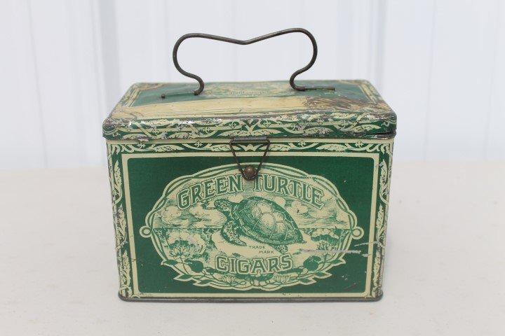 Green Turtle Cigars tin pail.  Gordon Cigar & Cheroot