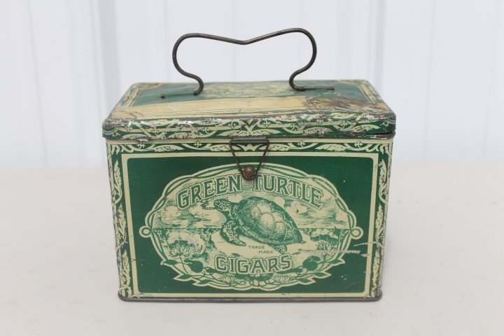 Green Turtle Cigars tin pail.  Gordon Cigar & Cheroot