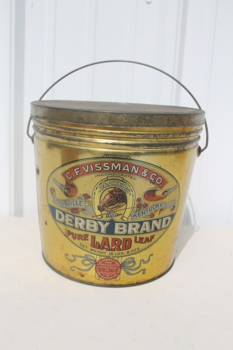 Derby Brand Pure Leaf Lard 18-pound 8-ounce tin, 1944,