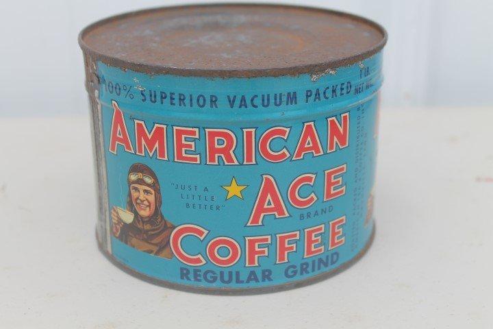 American Ace Coffee Regular Grind 1-pound key open tin.