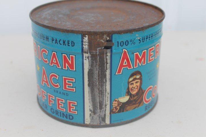 American Ace Coffee Regular Grind 1-pound key open tin. - 2