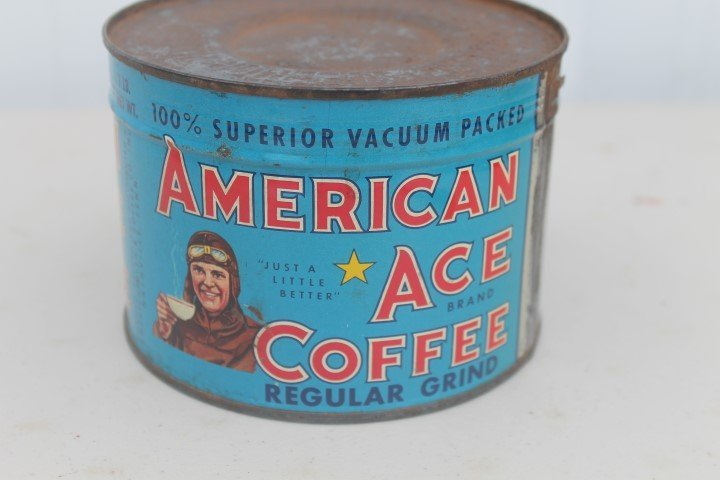 American Ace Coffee Regular Grind 1-pound key open tin. - 3
