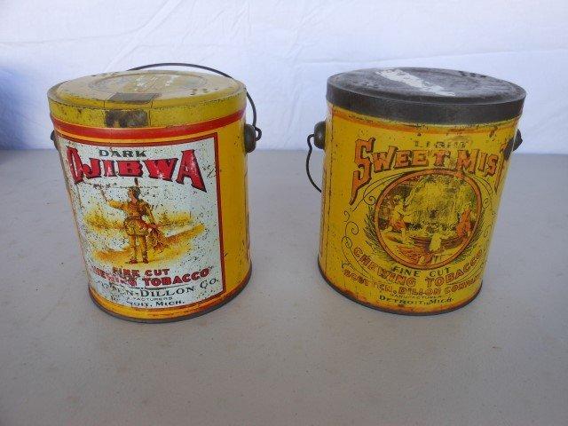 """Dark Ojibwa and Light Sweet Mist tobacco pails, 6""""."""