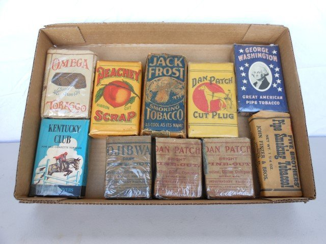 (10) unopened packs of tobacco:  Omega, Peach, Dan