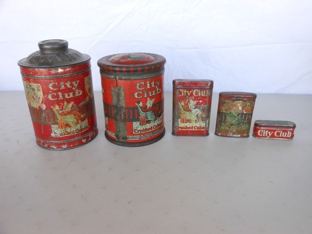 """City Club Tobacco: (2) 6"""" cannisters, (2) pocket tins,"""