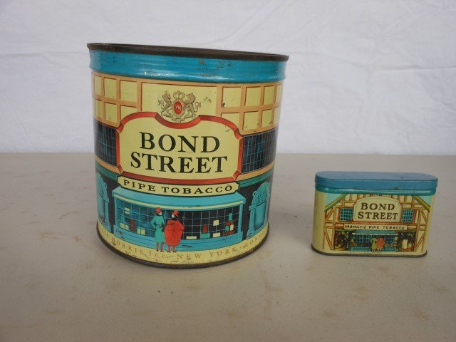 """Bond Street tobacco tins:  unopened 5"""" cannister and"""