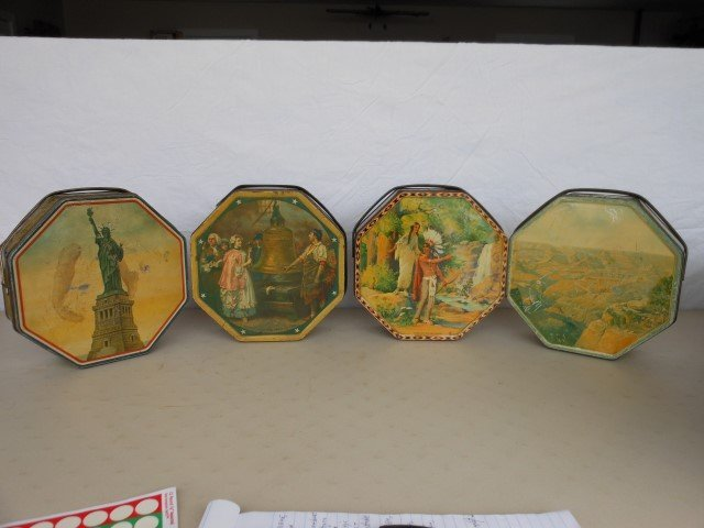 (4) Sunshine Biscuit tins:  Statue of Liberty; Liberty
