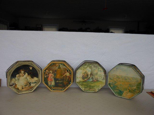 (4) Sunshine Biscuit tins:  Children, Robin Hood, Grand