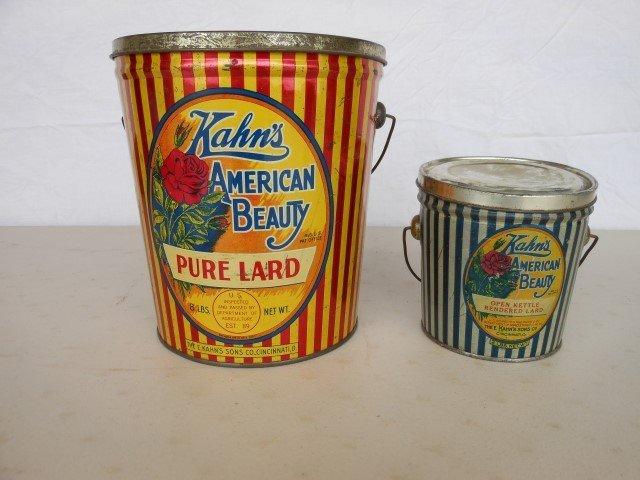 Kahn's American Beauty Lard tins:  8 pound and 2 pound.