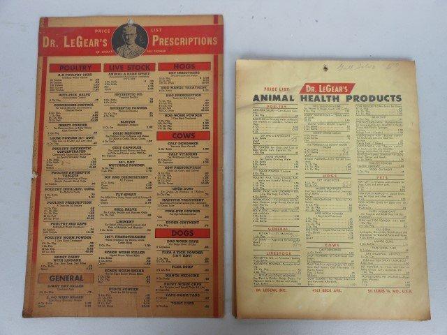 Price boards (10):  Dr. LeGear's Prescriptions and Dr.