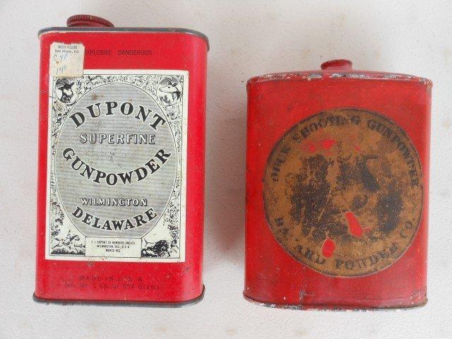 "(2) Gunpowder tins:  DuPont 6"" and Hazard Powder Co. 5"""