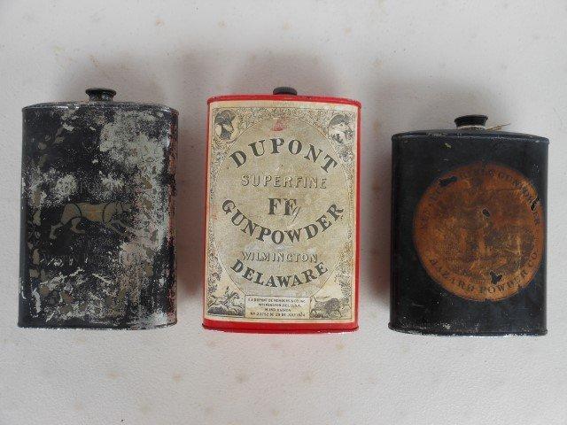 "(3) Gunpowder tins:  Hazard Powder Co. 5"", DuPont 6"","