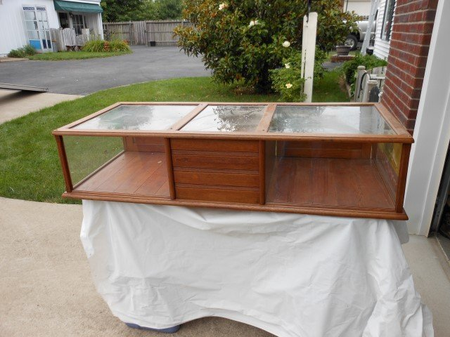 """Oak counter-top display case with cash drawer, 51 3/4"""""""