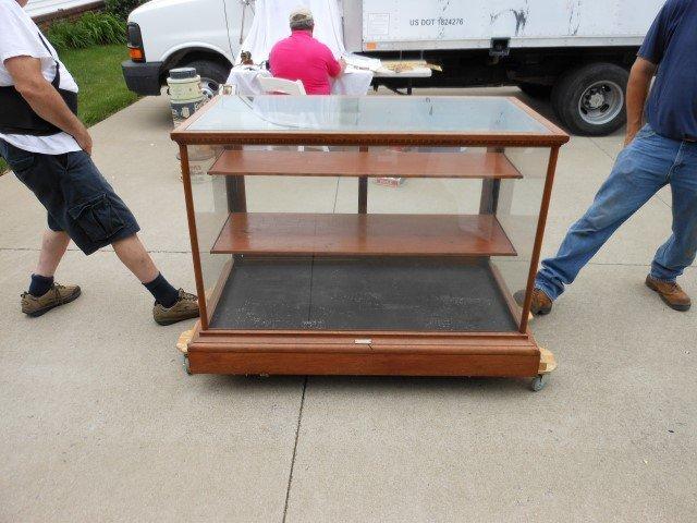 """Oak floor model 3-tier display case, 50 1/2"""" wide, 37"""""""
