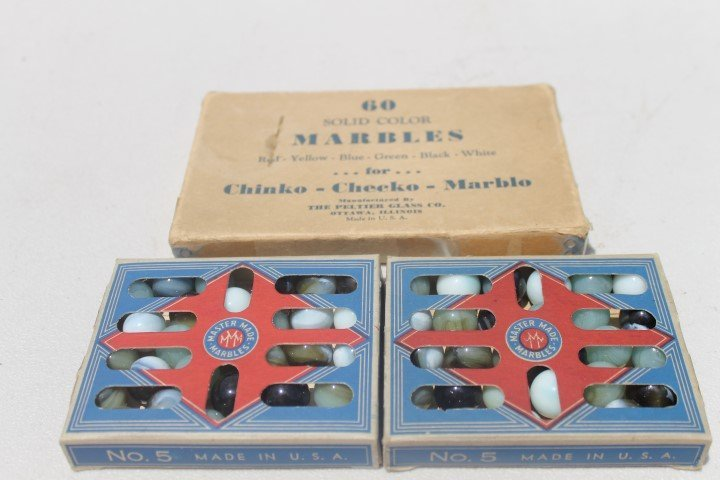 Marbles:  (2) boxes of No. 5 Martin Made Marbles, 36