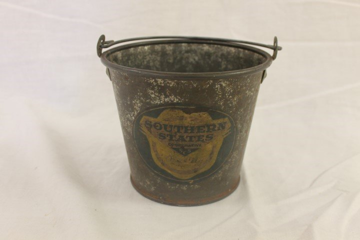 Southern States Cooperative seamed steel bucket with