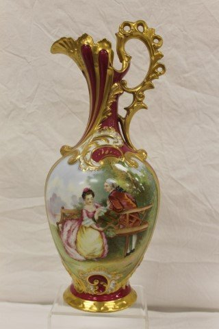 "Sevres 16"" ewer with Victorian courting scene signed L."