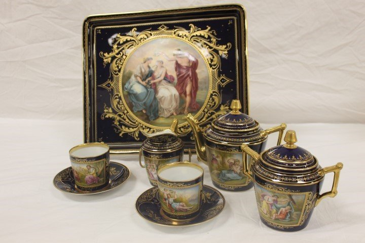 Royal Vienna cobalt cabaret or tea set with heavy gold