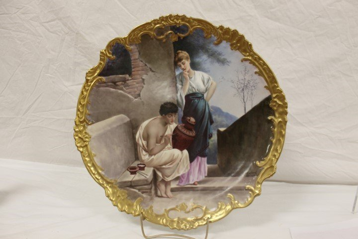 """LRL Limoges 17 1/2"""" charger with an artist painting a"""