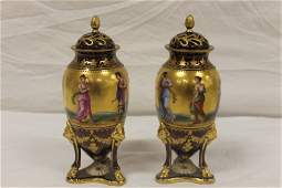 """Royal Vienna pair 9"""" covered urns with footed support"""