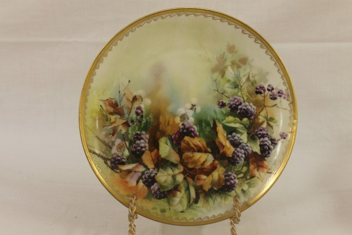 "Haviland France 9"" plate with blackberry and gold"