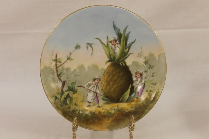 "T&V Limoges 9 1/2"" plate depicting three boys"
