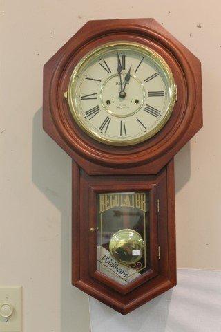 Waltham wall clock made in korea 12000 wall clocks waltham polk cherry finish regulator wall clock amipublicfo Images