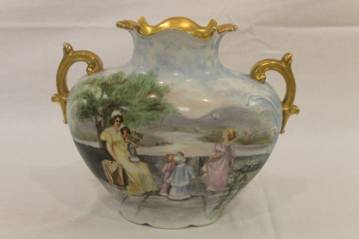 J. Pouyat Limoges pillow vase with Victorian garden