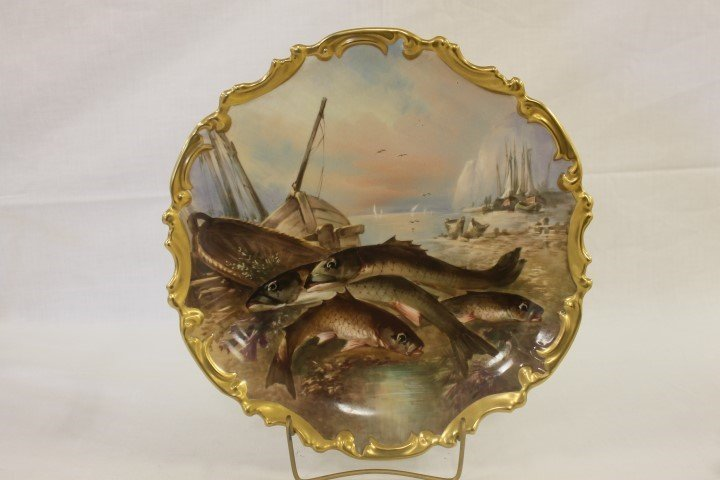 "Lewis Strauss & Sons Limoges 13 1/8"" charger with fish,"