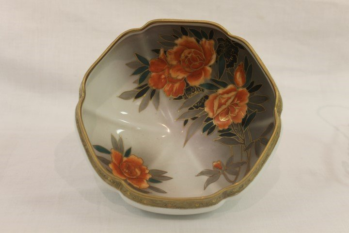 Nippon green M with wreath footed bowl with interior