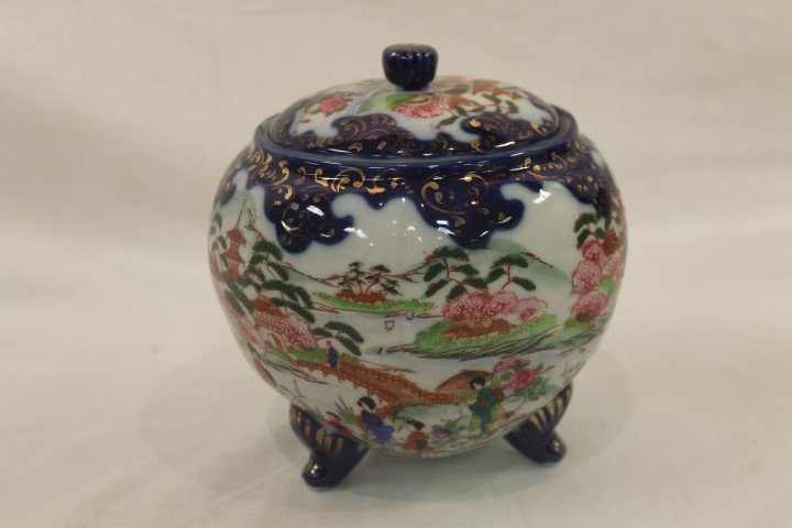Cobalt and gold decorated footed cracker jar with