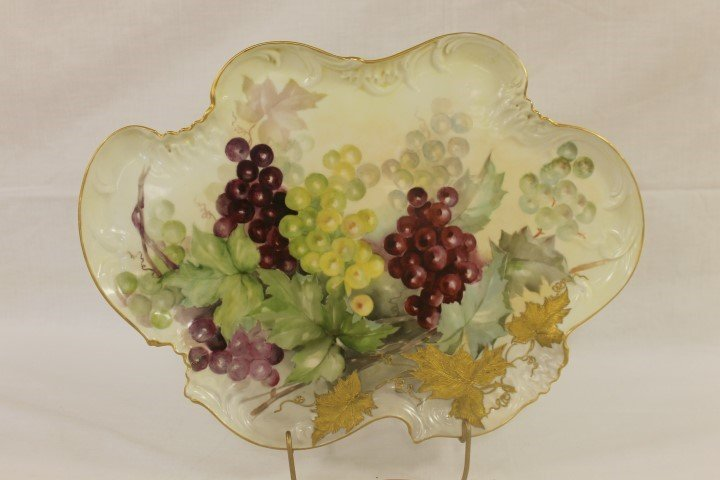 "D&Co. France Limoges 16 7/8"" tray with raised enamel"